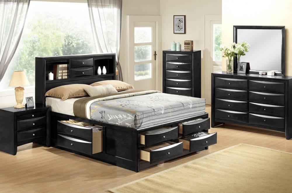 Felicia Très Grand Lit King Avec Rangement Noir Meubles Déco Dépôt - Tres grand lit design