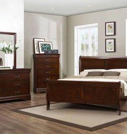 Louis Philippe Full Bedroom Set  Dark Cherry
