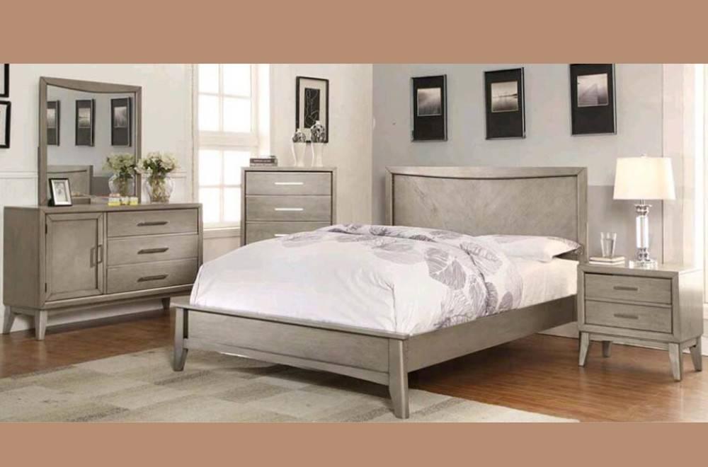 Weathered Gray King Bedroom Set : Sasha king bedroom set distressed grey furniture deco depot