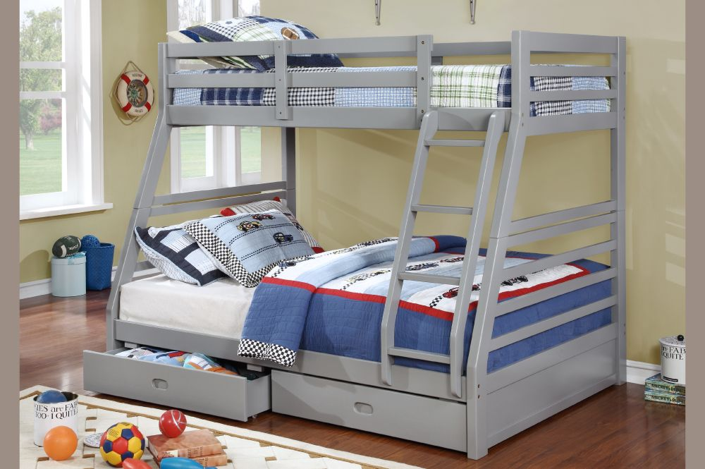 T 2700g Twin Full Size Bunk Bed 2 Drawers Grey Furniture Deco Depot