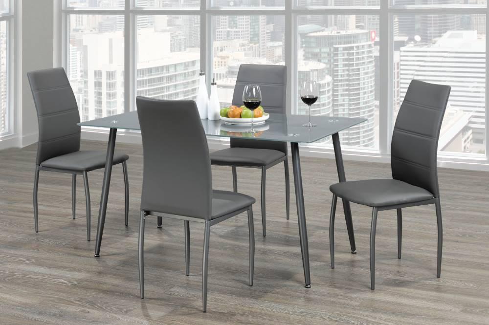 T 3600 ensemble 5mcx salle manger gris meubles d co for Ensemble salle a manger gris