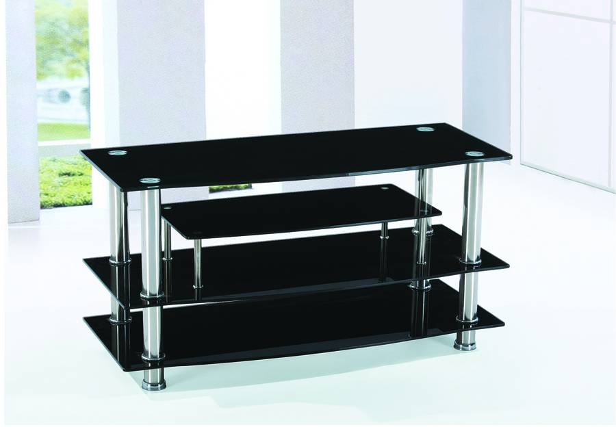 T 700 meuble t l verre noir chrome meubles d co d p t for Meuble tele verre