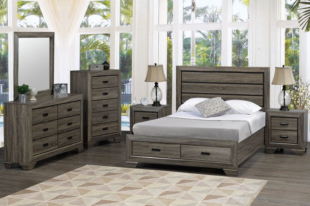 Jenna King Size Bed With Storage Distressed Grey