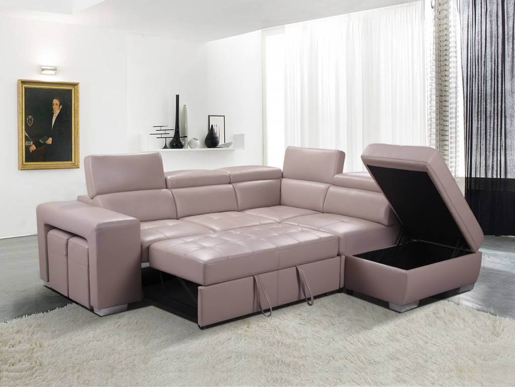 Gl6239 Postiano Sofa Sectionnel Convertible Gris Minuit