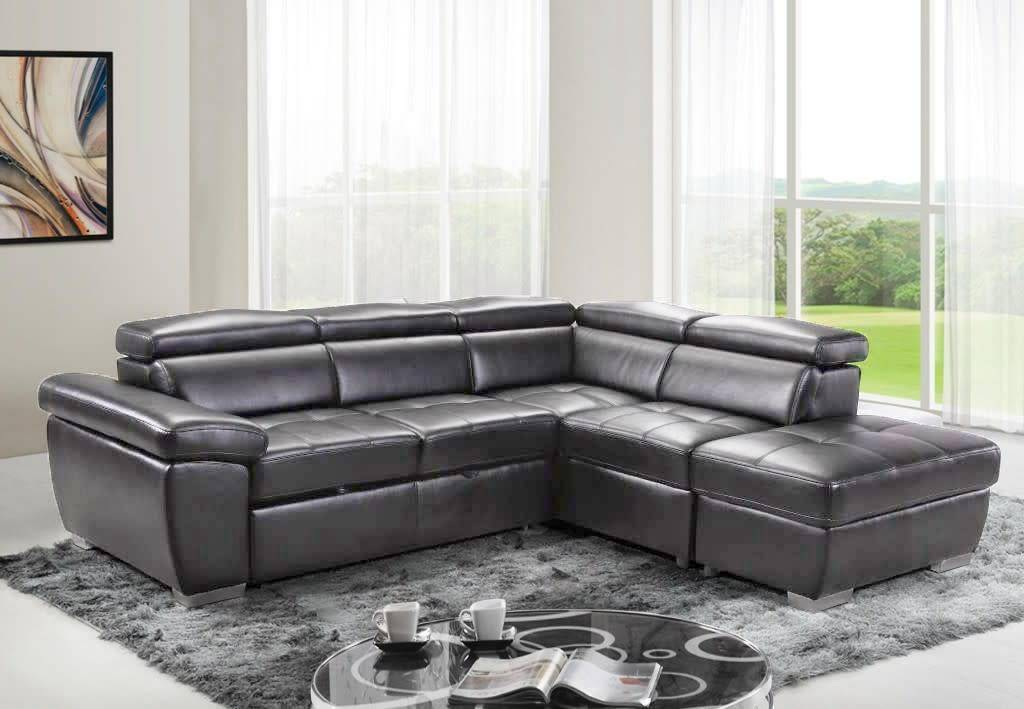 Gl6237 Amando Pull Out Sofa Sectional Graphite Grey