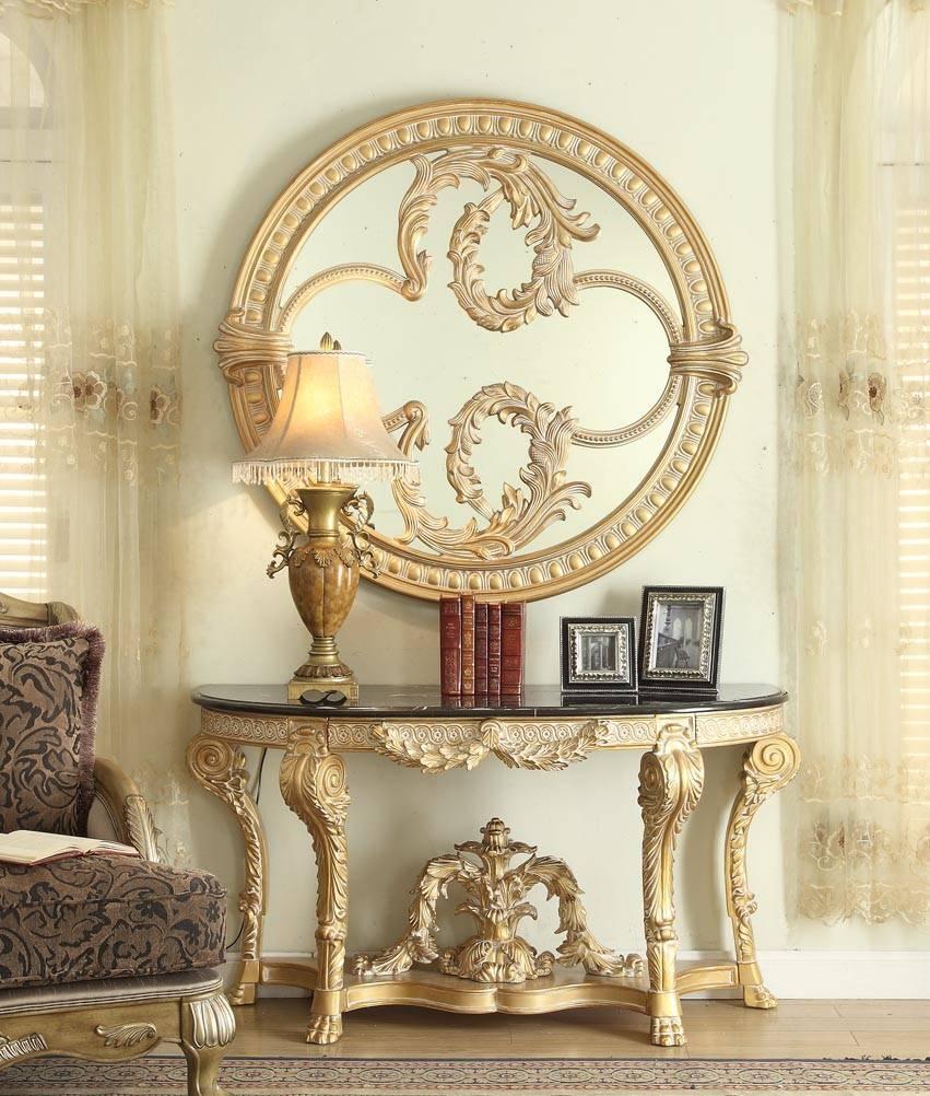 gl8035 table de salon avec miroir or noire meubles d co. Black Bedroom Furniture Sets. Home Design Ideas