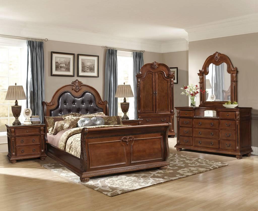 king bedroom set. GL2833 Monalisa King Bedroom Set  Walnut Furniture Deco Depot