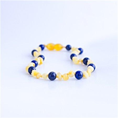 """The Amber Monkey Gemstones & Amber Bracelet and Necklace Milk & Lapis Lazuli 21-22"""""""