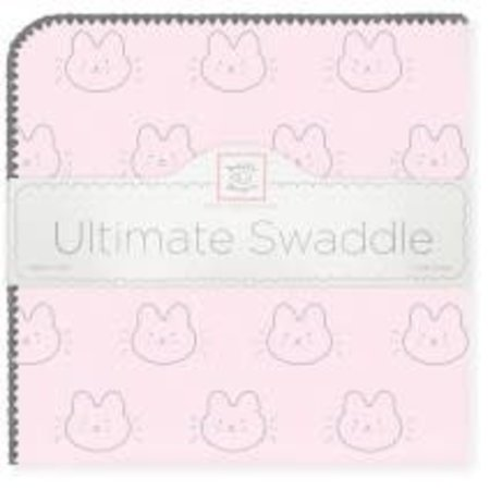 Swaddle Designs Ultimate Swaddle Blanket Baby Bunny on Pastel Pink with Gray Trim Pastel Pink