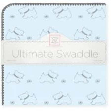 Swaddle Designs Ultimate Swaddle Blanket Gray Doggie on Pastel Blue with Gray Trim Pastel Blue