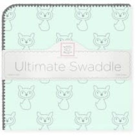 Swaddle Designs Ultimate Swaddle Blanket Gray Fox on Pastel SeaCrystal with Gray Trim Pastel SeaCrystal