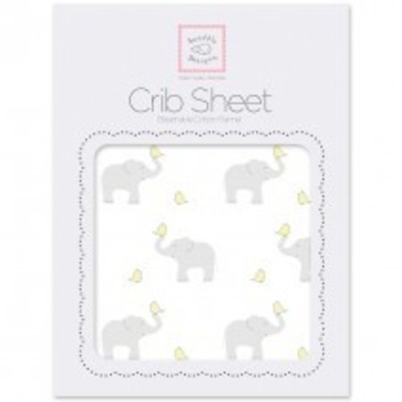 Swaddle Designs Cotton Flannel Crib Sheet Elephant and Chickies
