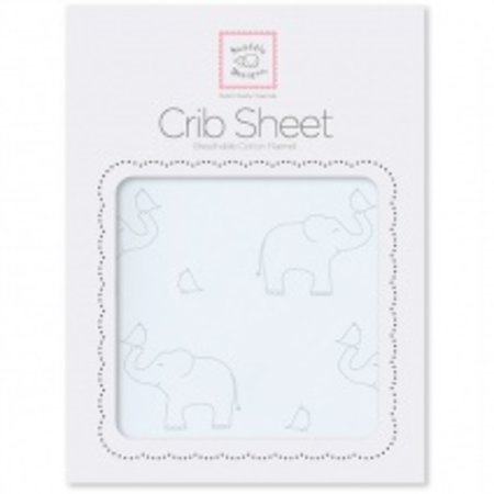 Swaddle Designs Cotton Flannel Crib Sheet Sterling Deco Elephants