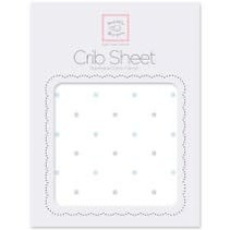 Cotton Flannel Crib Sheet Pastel and Sterling Little Dots