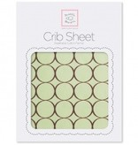 Swaddle Designs Cotton Flannel Crib Sheet Pastel with Brown Mod Circles