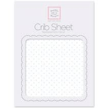 Cotton Flannel Crib Sheet Pastel Polka Dots on White