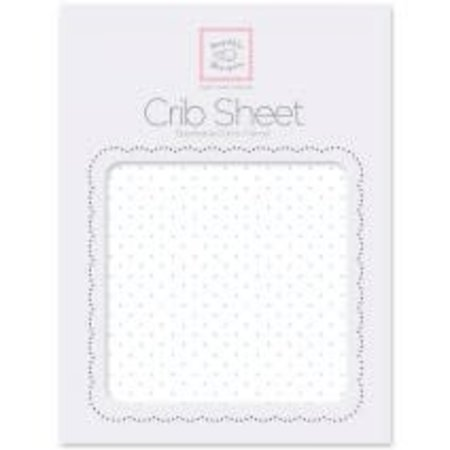 Swaddle Designs Cotton Flannel Crib Sheet Pastel Polka Dots on White