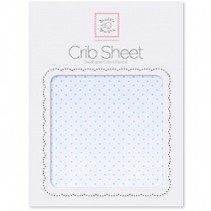Cotton Flannel Crib Sheet Pastel with Pastel Polka Dots