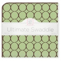 Ultimate Swaddle Blanket Pastel with Brown Mod Circles