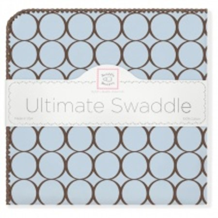 Swaddle Designs Ultimate Swaddle Blanket Pastel with Brown Mod Circles