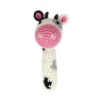 Hand Crocheted Rattle- Cow Stick