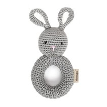 Hand Crocheted Rattle - Bunny Ring