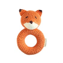 Hand Crocheted Rattle - Fox Ring