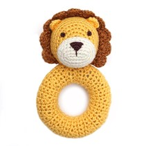 Hand Crocheted Rattle- Lion Ring