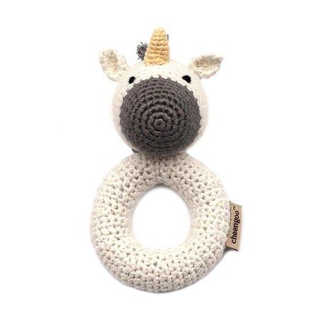 Indigo Fair Hand Crocheted Rattle Ring Unicorn by Cheengoo