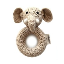 Hand Crocheted Rattle - Elephant Ring