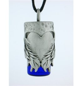Pewter Angel's Heart Aromatherapy Bottle Necklace