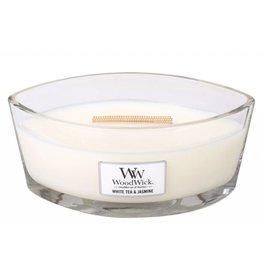 Woodwick Large Hearthwick White Tea & Jasmine Ellipse