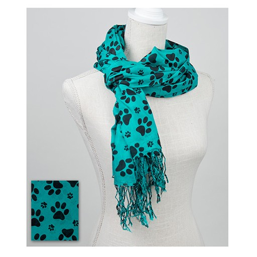 Dog Speak 100% Rayon Scarf Paws Emerald/Black 28x72""