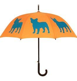 San Francisco Umbrella Company French Bulldog Walking Stick Umbrella Egyptian Persimmon/Orange/Turquoise
