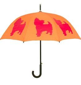 San Francisco Umbrella Company Yorkshire Terrier Walking Stick Umbrella Persimmon Orange/Red