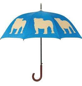 San Francisco Umbrella Company English Bulldog Walking Stick Umbrella Egyptian Blue/Light Brown
