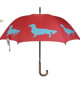San Francisco Umbrella Company Long-Haired Dachshund Walking Stick Umbrella Red/Turquoise