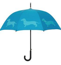 San Francisco Umbrella Company Dachshund Walking Stick Umbrella Sky Blue/Light Blue