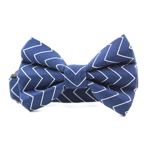 Bow Wow Couture Bow Wow Couture Pinstripe Chevron in Navy Bow Tie