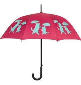 San Francisco Umbrella Company Cats With Umbrellas Walking Stick Umbrella Wine Red/Turquoise