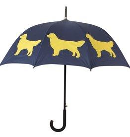 San Francisco Umbrella Company Golden Retriever Walking Stick Umbrella Midnight Blue/Gold