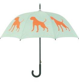San Francisco Umbrella Company Boxer II Walking Stick Umbrella Powder Sage Green/Poppy Red