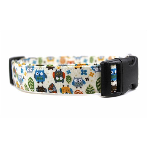 """Bow Wow Couture Bow Wow Couture Owls in Cream Cat Collar 3/8"""""""
