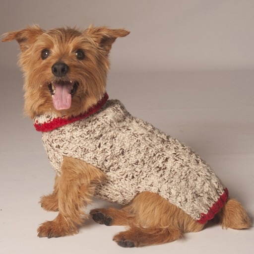 Chilly Dog Chilly Dog Oatmeal Cable Knit w/ Red Trim