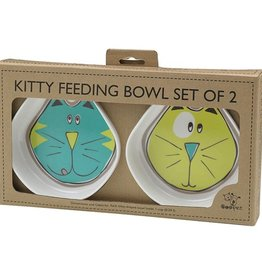 Ore Ore Pet Cosmic Kitty Blue & Green Bowl Set