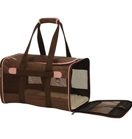 Sherpa Sherpa Original Deluxe Soft Sided Carrier Brown with Pink Trim