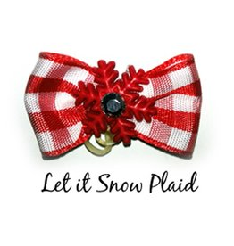 Chloe's Canine Let it Snow Red Plaid Hair Bow