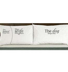 """DogSnorz """"The Husband/Wife/Dog Sleeps Here"""" Pillowcase"""
