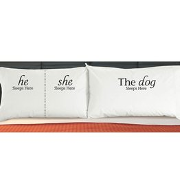 """DogSnorz """"He/She/The Dog Sleeps Here"""" Pillowcase"""