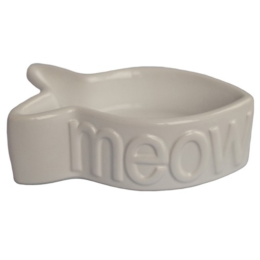 Creature Comforts Meow Fish Shaped Ceramic Bowl